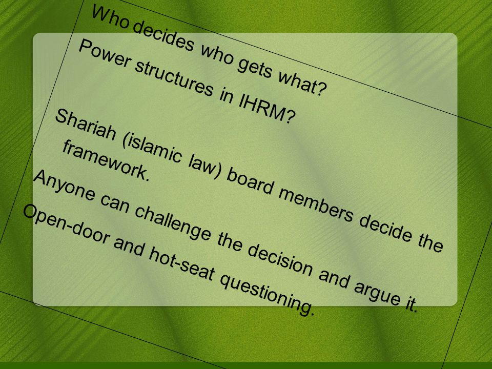 Who decides who gets what. Power structures in IHRM.