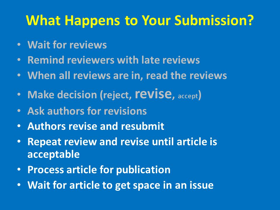 What Happens to Your Submission.