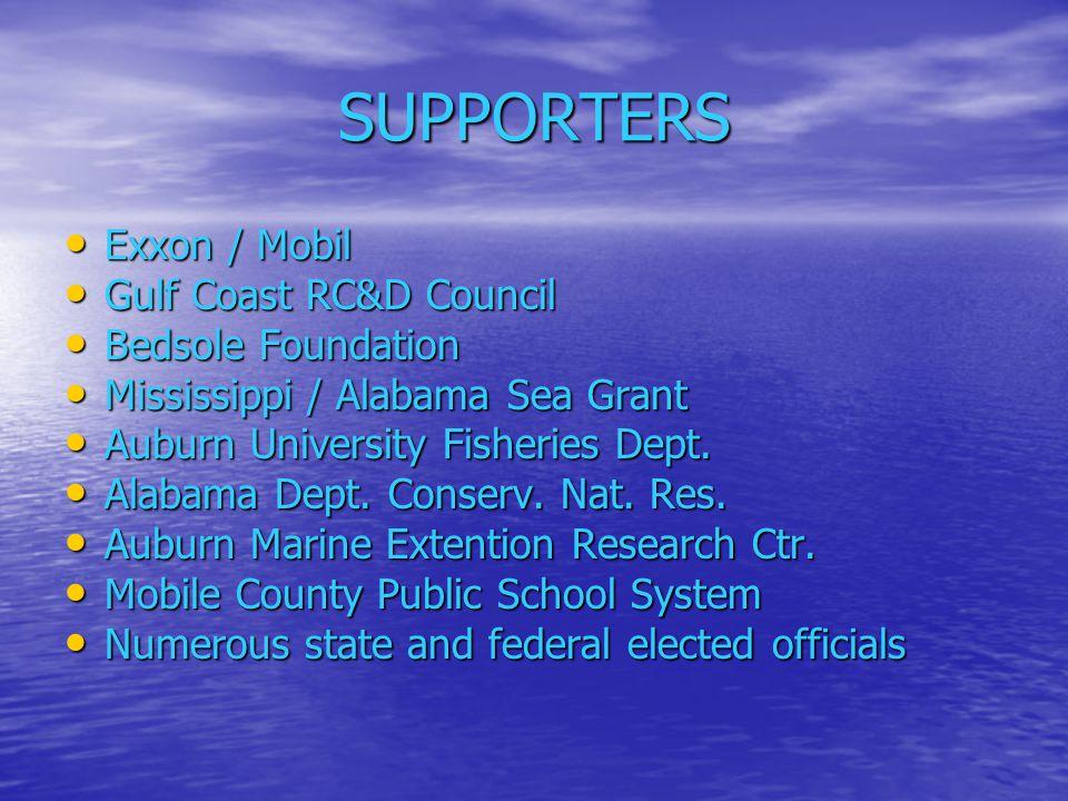 SUPPORTERS Exxon / Mobil Exxon / Mobil Gulf Coast RC&D Council Gulf Coast RC&D Council Bedsole Foundation Bedsole Foundation Mississippi / Alabama Sea