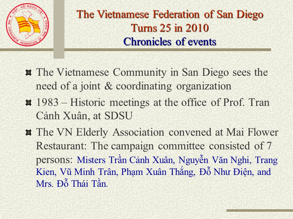 Vietnamese Refugees in San Diego In 1975, there were about 8000 refugees settled in San Diego In 1983, this number increased up 17,000 2010 the number is 33,000 In 1983 more than 20 organizations: Society of the Elderly, Parents and Teachers Association, RSVN Veterans, Indochinese Mutual Assistance Association, Catholic Community Association, Buddhist Community Association, Professional Associations, Students associations….