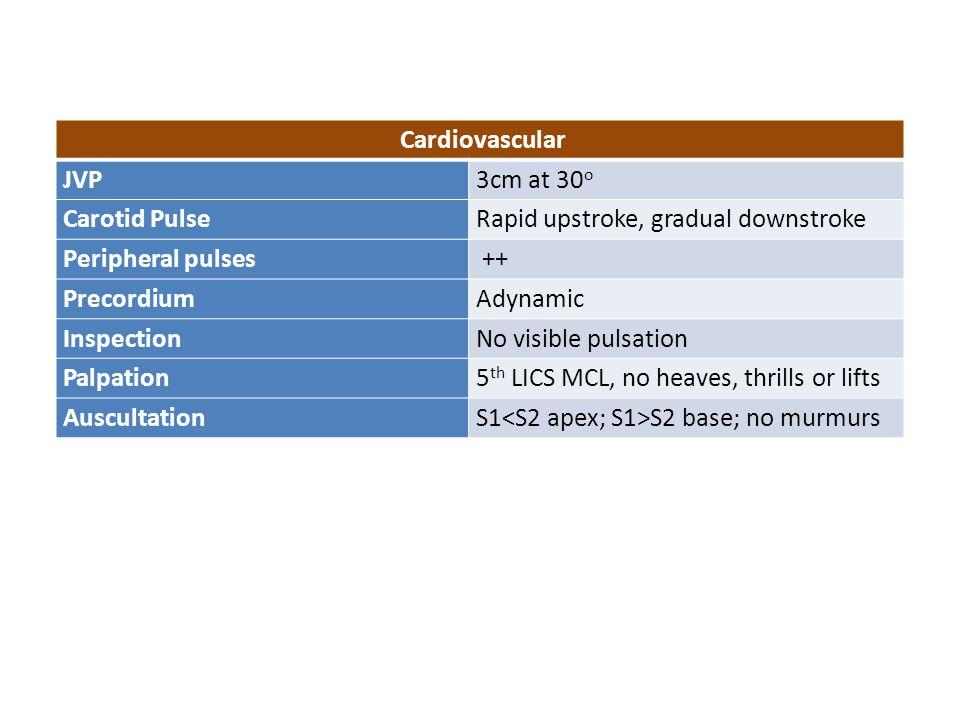 Cardiovascular JVP3cm at 30 o Carotid PulseRapid upstroke, gradual downstroke Peripheral pulses ++ PrecordiumAdynamic InspectionNo visible pulsation P