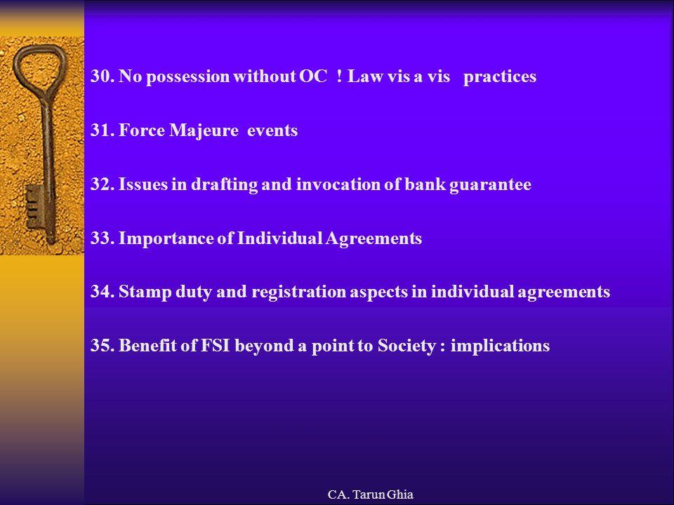 CA.Tarun Ghia IV. ISSUES IN JOINT DEVELOPMENTS IN PARTNERSHIP 1.
