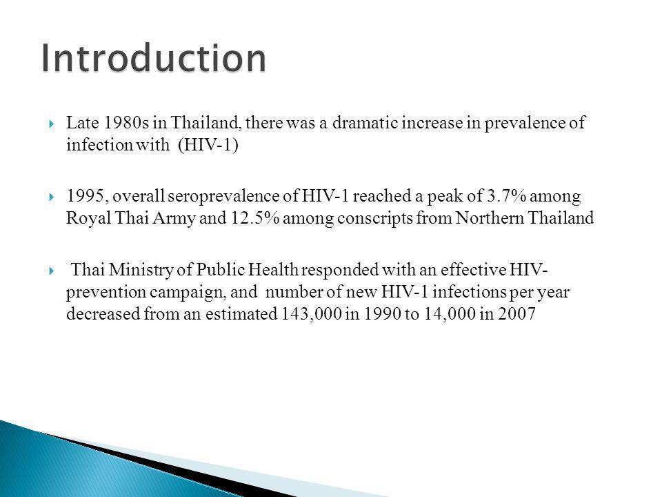  Late 1980s in Thailand, there was a dramatic increase in prevalence of infection with (HIV-1)  1995, overall seroprevalence of HIV-1 reached a peak