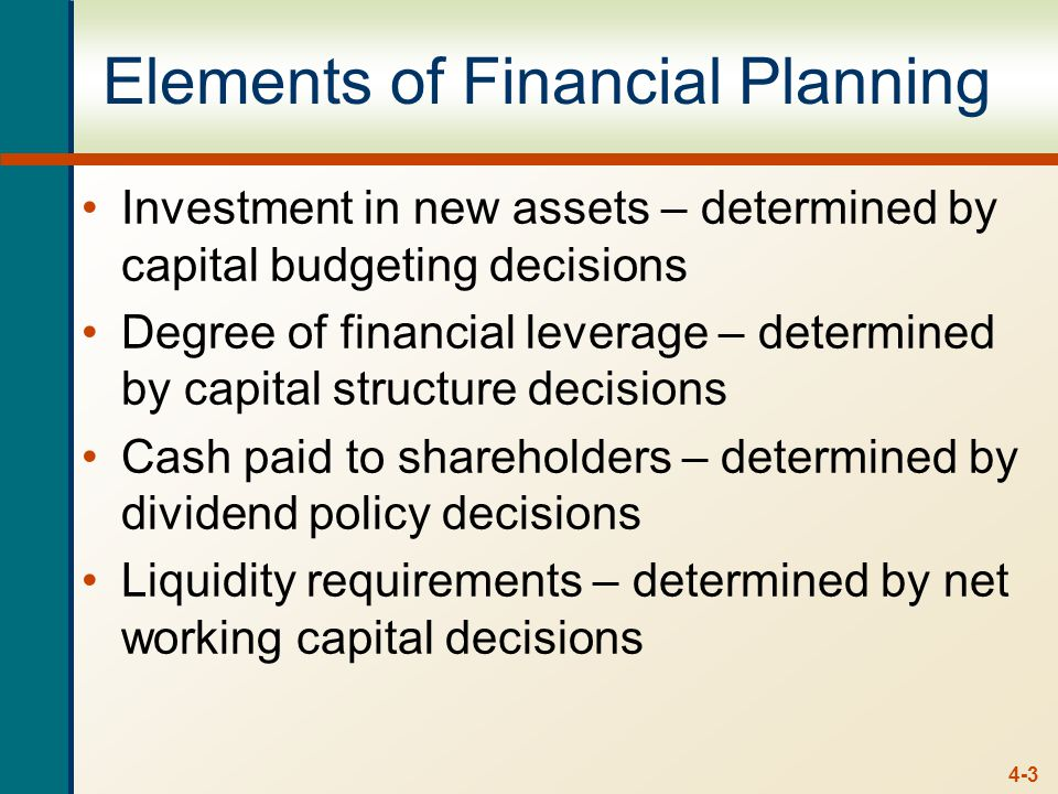 4-3 Elements of Financial Planning Investment in new assets – determined by capital budgeting decisions Degree of financial leverage – determined by capital structure decisions Cash paid to shareholders – determined by dividend policy decisions Liquidity requirements – determined by net working capital decisions