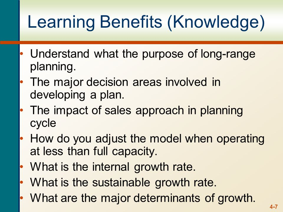 4-7 Learning Benefits (Knowledge) Understand what the purpose of long-range planning.