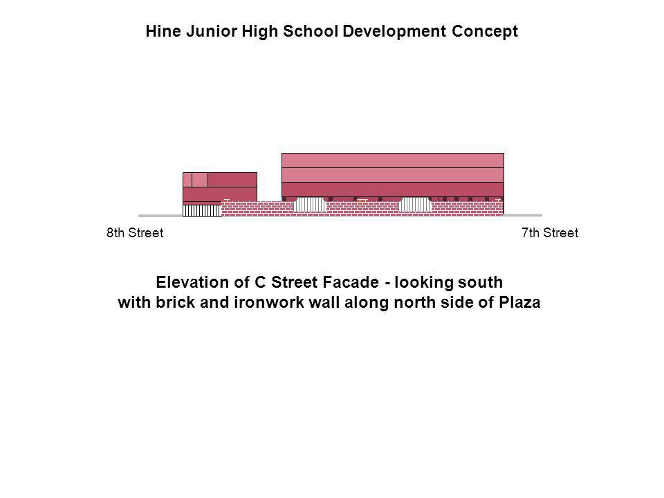 Elevation of C Street Facade - looking south with brick and ironwork wall along north side of Plaza Hine Junior High School Development Concept 7th Street8th Street