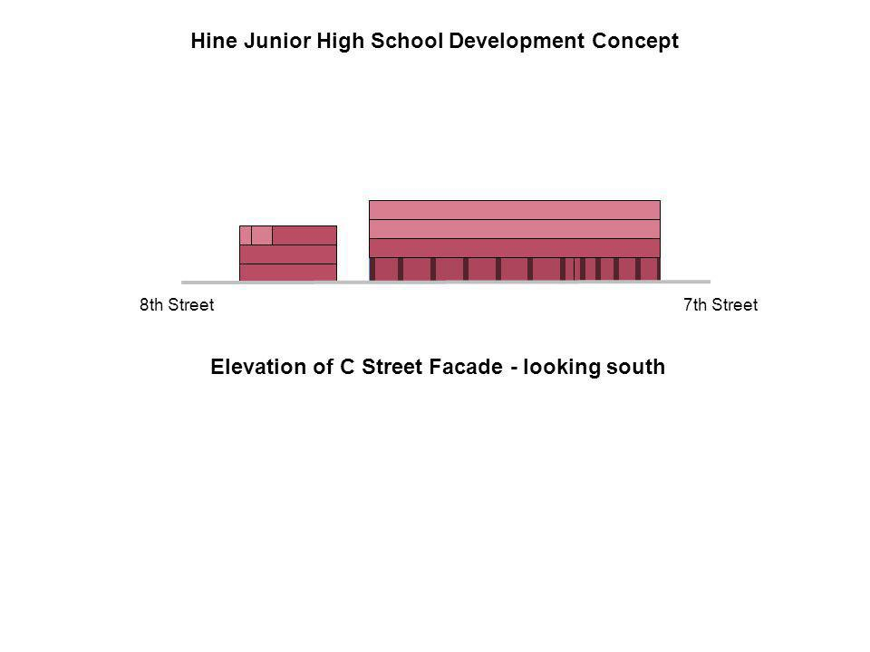 Elevation of C Street Facade - looking south 7th Street8th Street Hine Junior High School Development Concept