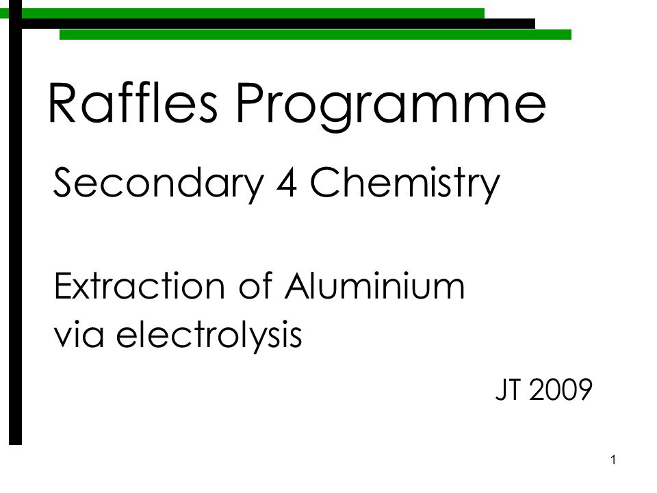 1 Secondary 4 Chemistry Extraction of Aluminium via electrolysis JT 2009 Raffles Programme