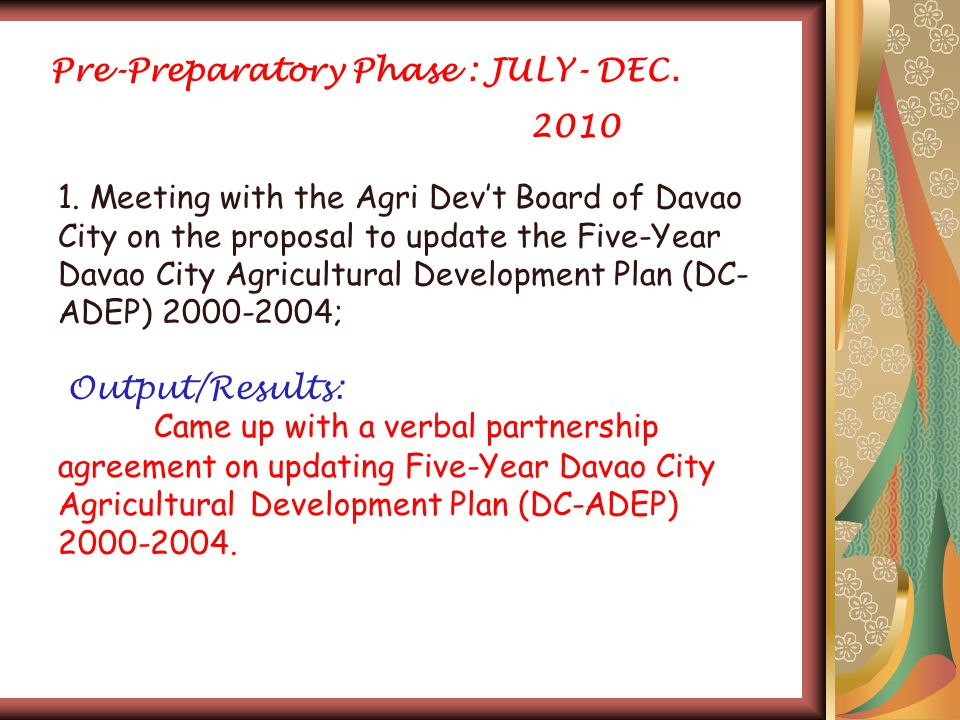 Pre-Preparatory Phase : JULY- DEC. 2010 1.