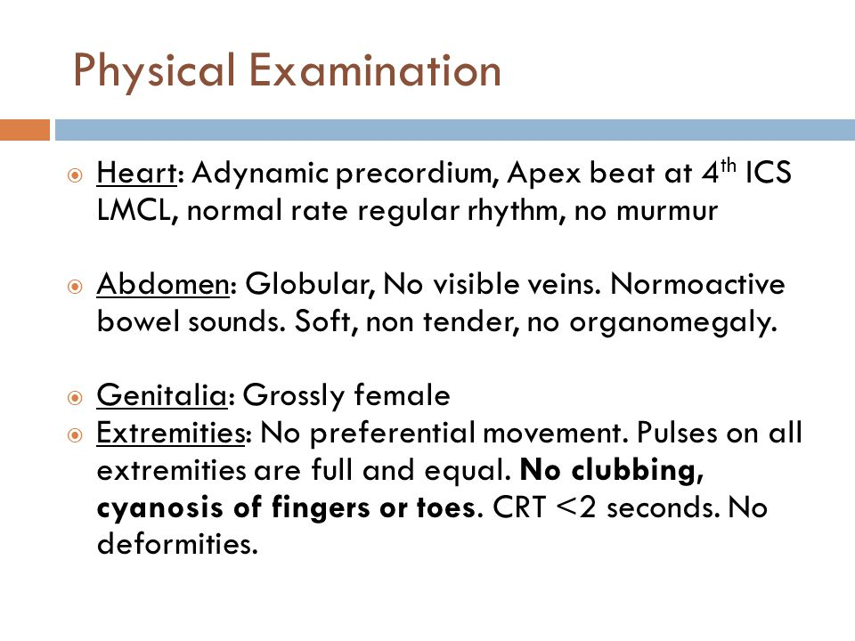 Physical Examination  Heart: Adynamic precordium, Apex beat at 4 th ICS LMCL, normal rate regular rhythm, no murmur  Abdomen: Globular, No visible v
