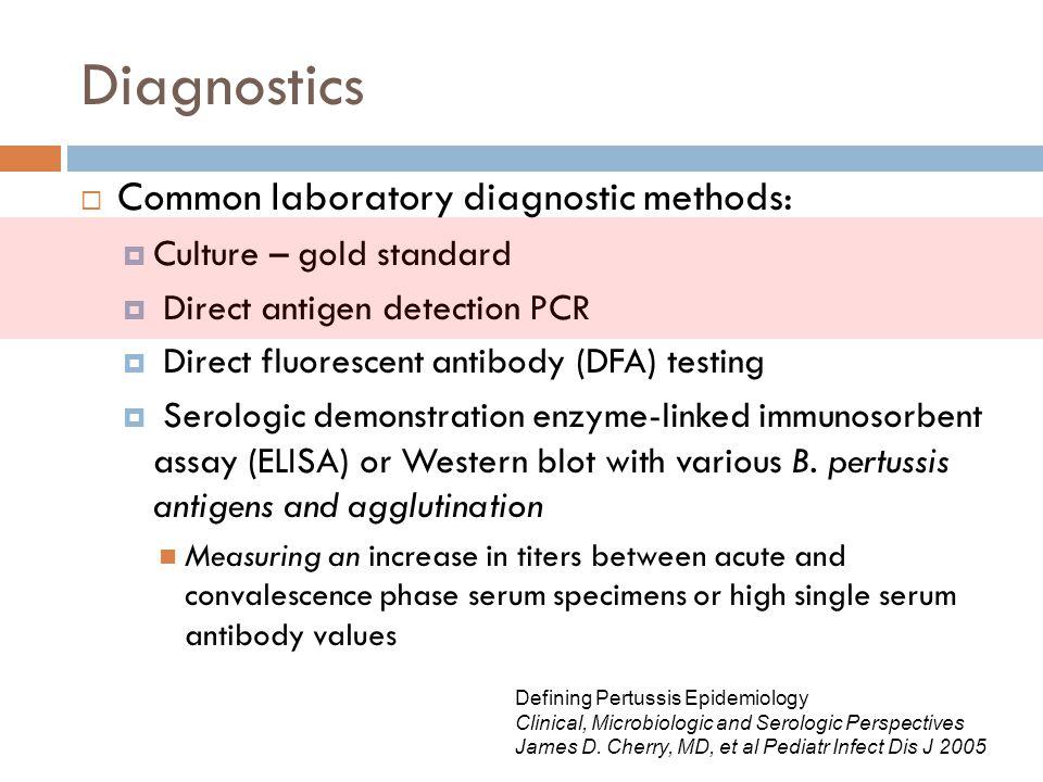 Diagnostics  Common laboratory diagnostic methods:  Culture – gold standard  Direct antigen detection PCR  Direct fluorescent antibody (DFA) testi