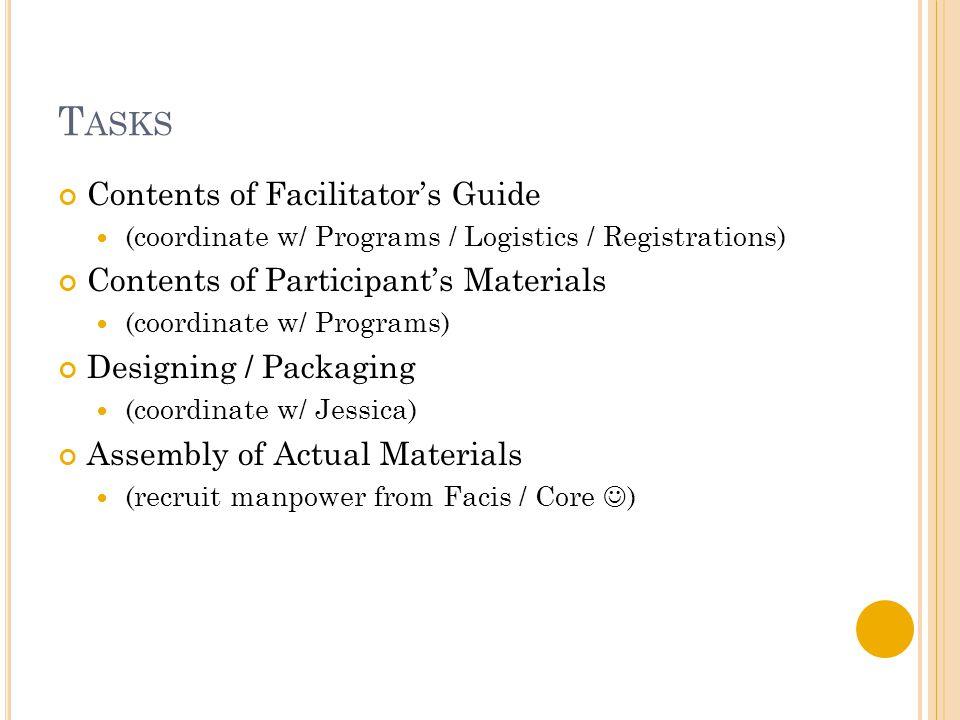 T ASKS Contents of Facilitator's Guide (coordinate w/ Programs / Logistics / Registrations) Contents of Participant's Materials (coordinate w/ Program