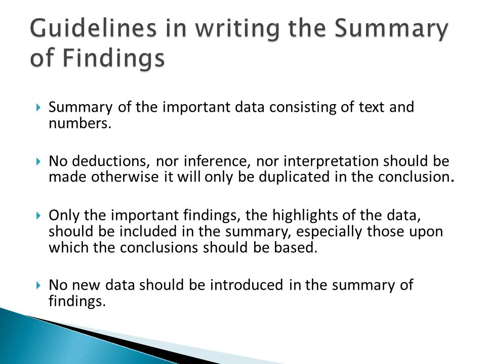  Summary of the important data consisting of text and numbers.