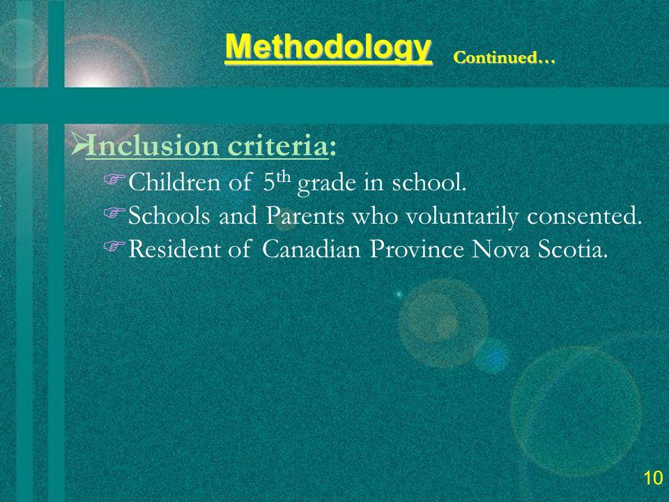 12  Inclusion criteria:  Children of 5 th grade in school.