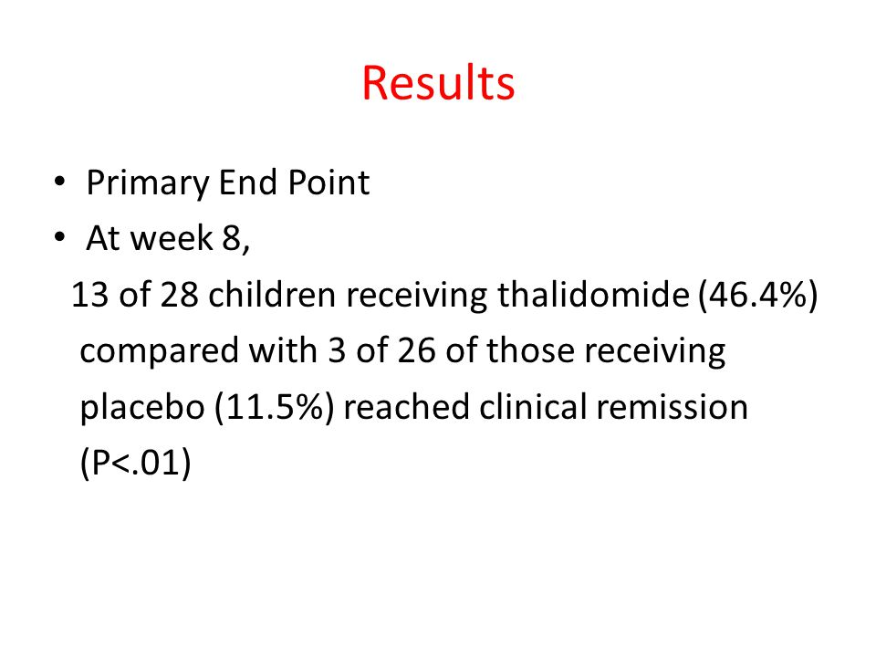 Results Primary End Point At week 8, 13 of 28 children receiving thalidomide (46.4%) compared with 3 of 26 of those receiving placebo (11.5%) reached
