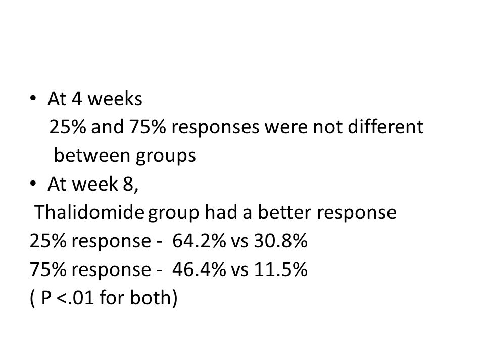 At 4 weeks 25% and 75% responses were not different between groups At week 8, Thalidomide group had a better response 25% response - 64.2% vs 30.8% 75