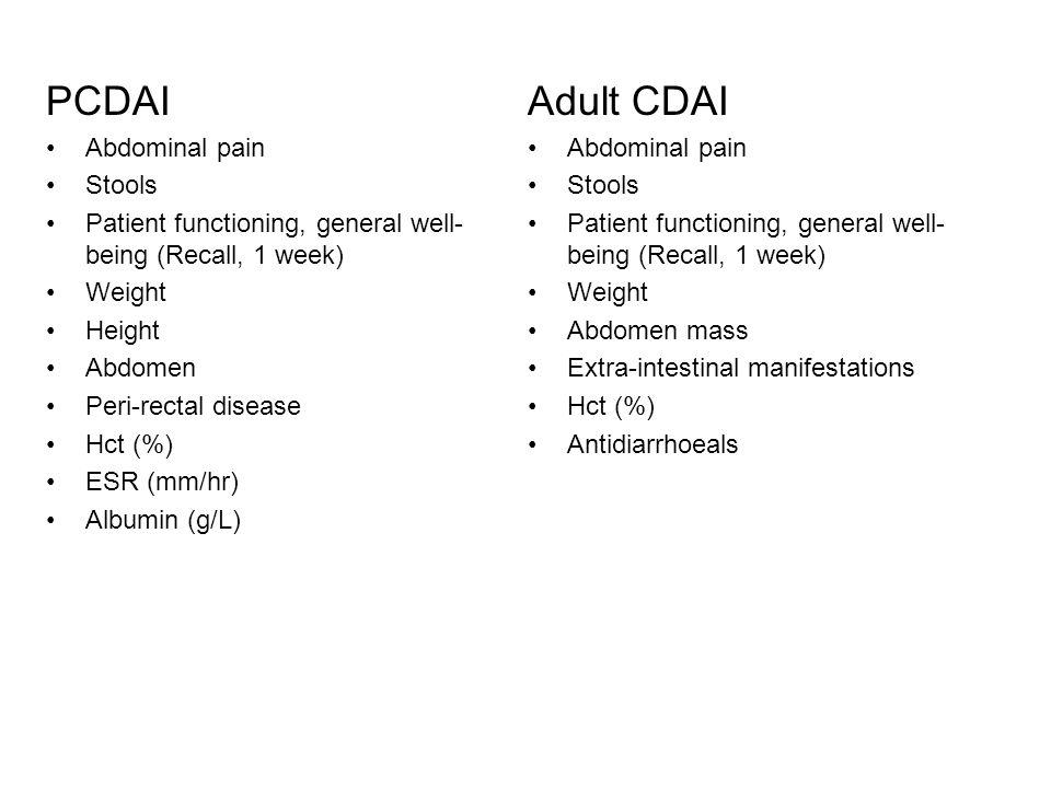 PCDAI Abdominal pain Stools Patient functioning, general well- being (Recall, 1 week) Weight Height Abdomen Peri-rectal disease Hct (%) ESR (mm/hr) Al