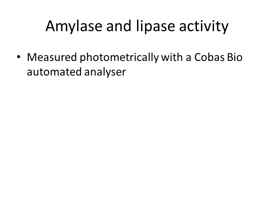 Amylase and lipase activity Measured photometrically with a Cobas Bio automated analyser