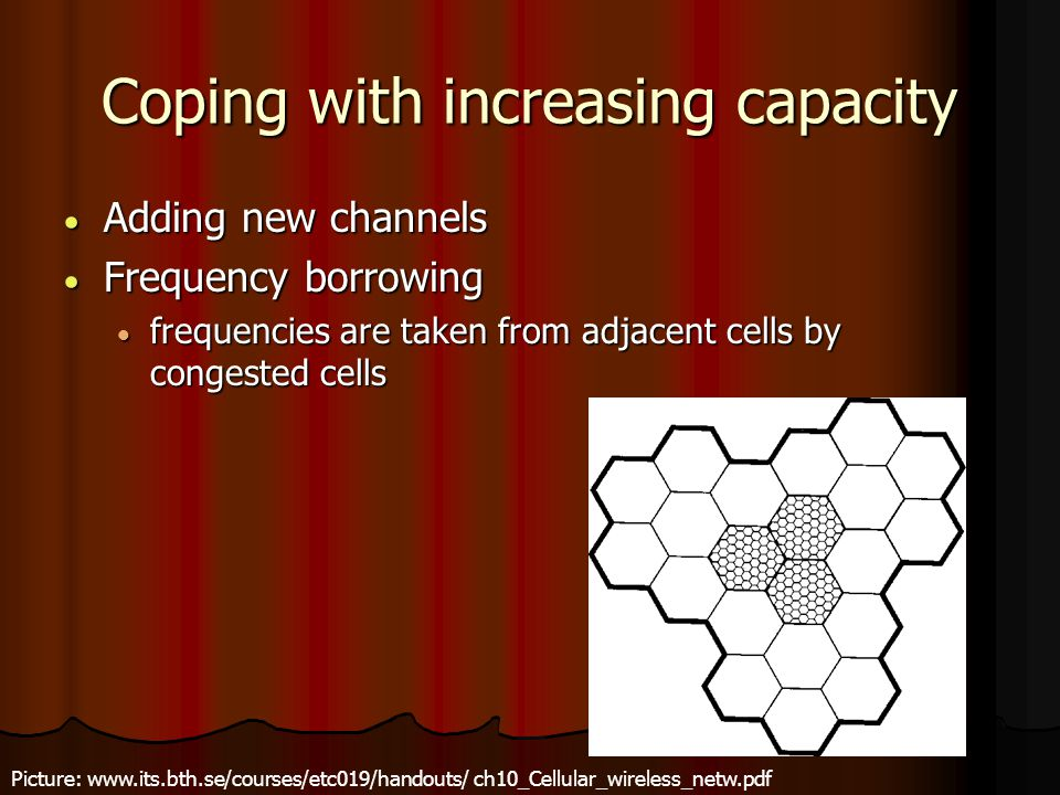 Coping with increasing capacity  Adding new channels  Frequency borrowing  frequencies are taken from adjacent cells by congested cells Picture: ww