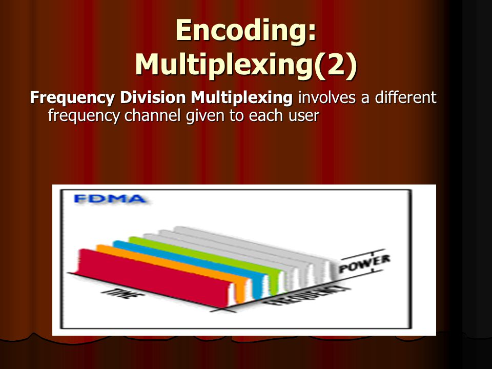 Encoding: Multiplexing(2) Frequency Division Multiplexing involves a different frequency channel given to each user
