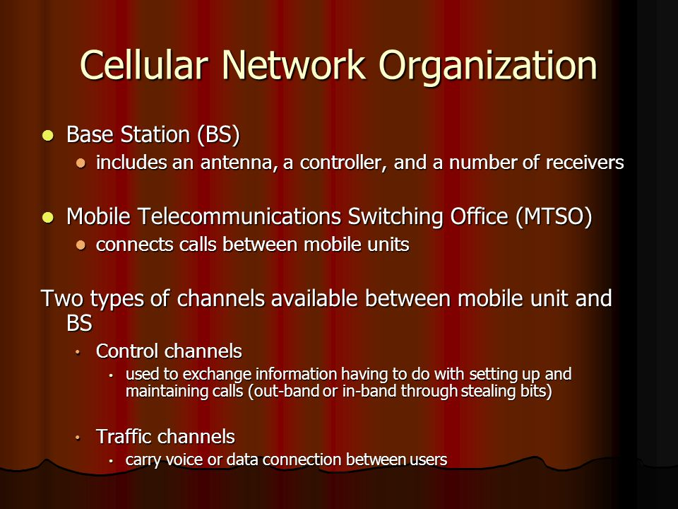 Cellular Network Organization Base Station (BS) Base Station (BS) includes an antenna, a controller, and a number of receivers includes an antenna, a