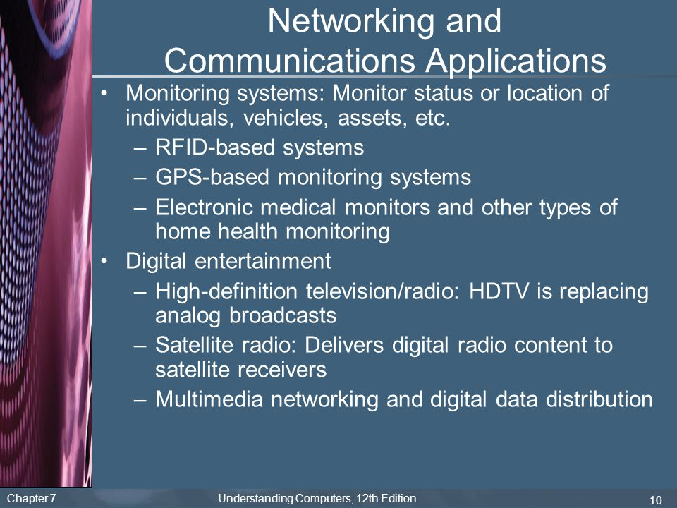 Chapter 7 Understanding Computers, 12th Edition 10 Networking and Communications Applications Monitoring systems: Monitor status or location of indivi