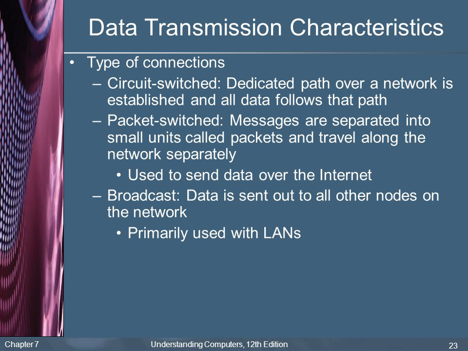 Chapter 7 Understanding Computers, 12th Edition 23 Data Transmission Characteristics Type of connections –Circuit-switched: Dedicated path over a netw