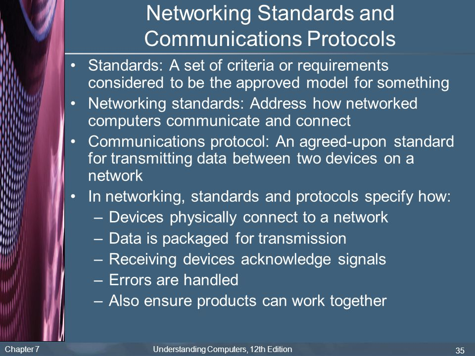 Chapter 7 Understanding Computers, 12th Edition 35 Networking Standards and Communications Protocols Standards: A set of criteria or requirements cons