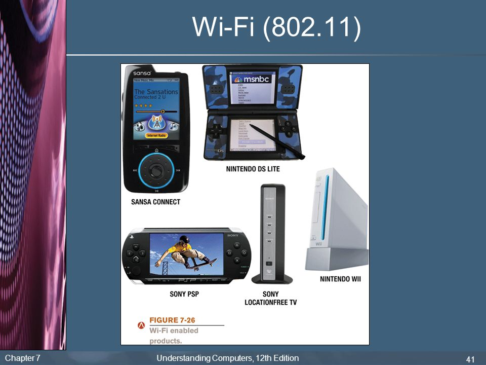 Chapter 7 Understanding Computers, 12th Edition 41 Wi-Fi (802.11)