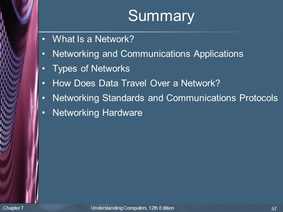 Chapter 7 Understanding Computers, 12th Edition 57 Summary What Is a Network? Networking and Communications Applications Types of Networks How Does Da