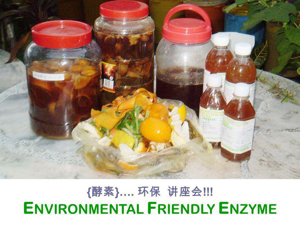 E NVIRONMENTAL F RIENDLY E NZYME { 酵素 }…. 环保 讲座会 !!!