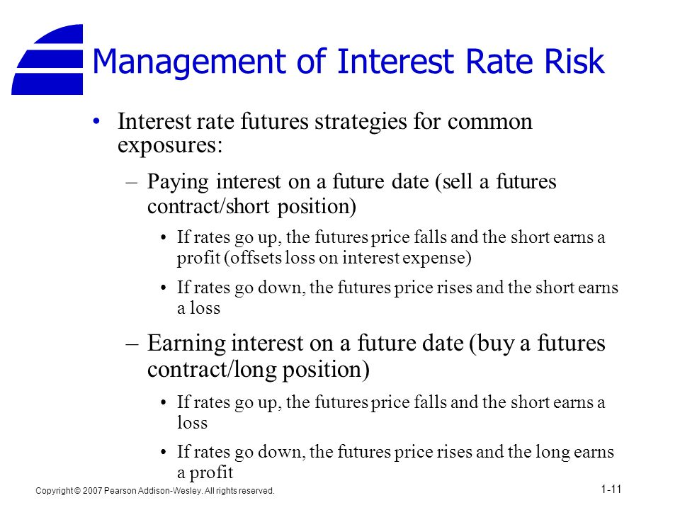 Copyright © 2007 Pearson Addison-Wesley. All rights reserved. 1-11 Management of Interest Rate Risk Interest rate futures strategies for common exposu