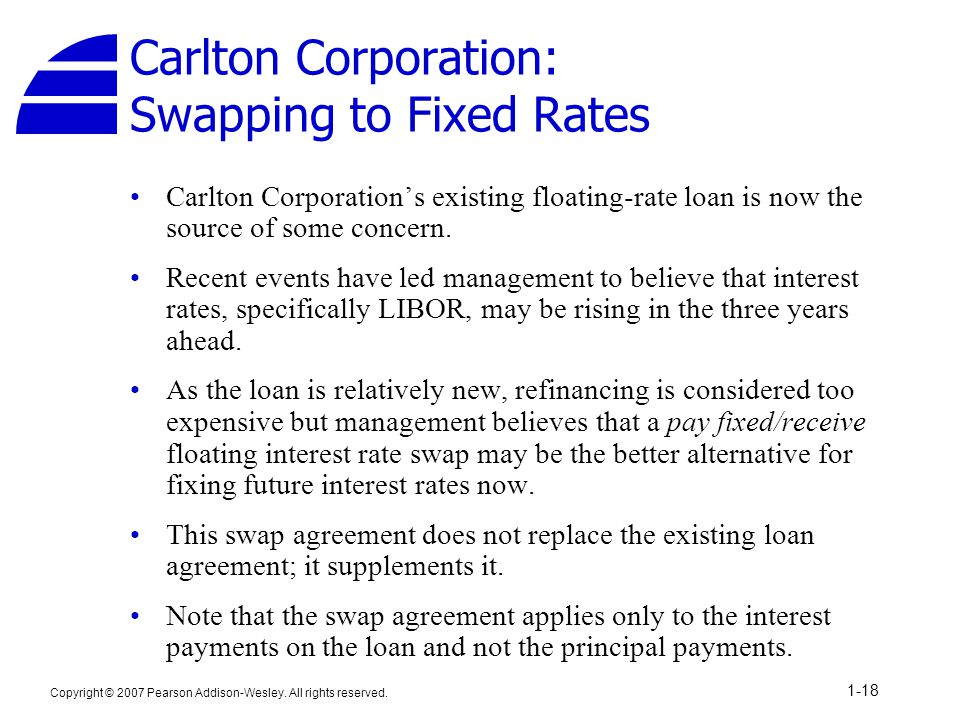 Copyright © 2007 Pearson Addison-Wesley. All rights reserved. 1-18 Carlton Corporation: Swapping to Fixed Rates Carlton Corporation's existing floatin