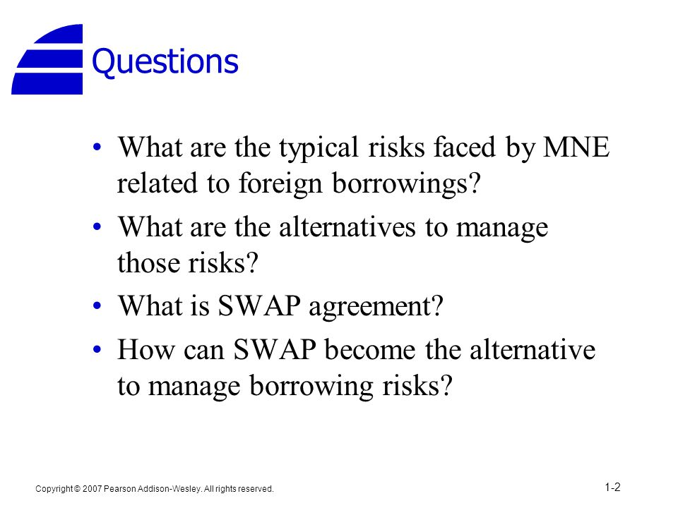 Questions What are the typical risks faced by MNE related to foreign borrowings? What are the alternatives to manage those risks? What is SWAP agreeme