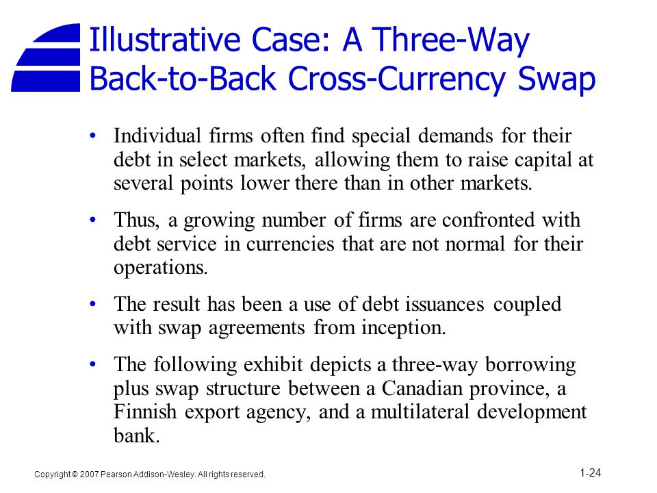 Copyright © 2007 Pearson Addison-Wesley. All rights reserved. 1-24 Illustrative Case: A Three-Way Back-to-Back Cross-Currency Swap Individual firms of