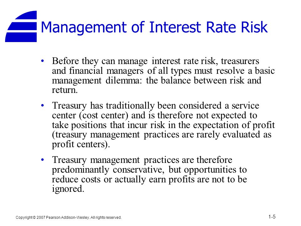 Copyright © 2007 Pearson Addison-Wesley. All rights reserved. 1-5 Management of Interest Rate Risk Before they can manage interest rate risk, treasure