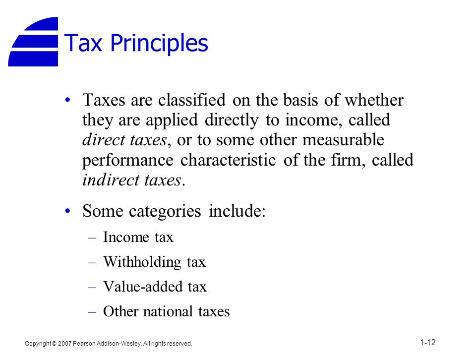 Copyright © 2007 Pearson Addison-Wesley. All rights reserved. 1-12 Tax Principles Taxes are classified on the basis of whether they are applied direct
