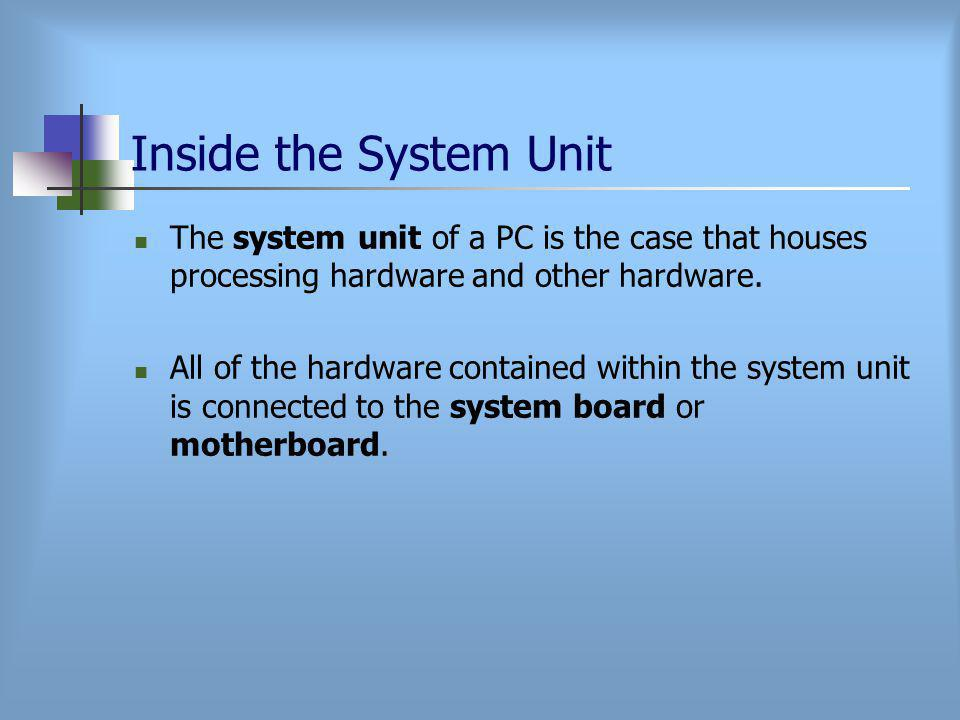 Inside the System Unit The system unit of a PC is the case that houses processing hardware and other hardware.