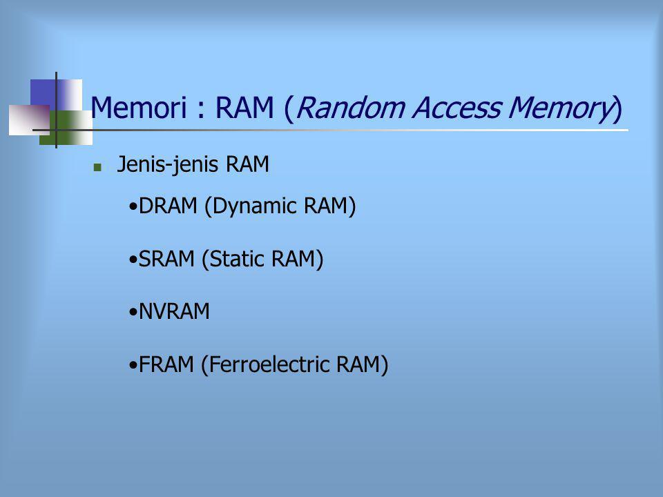 Memori : RAM (Random Access Memory) Jenis-jenis RAM DRAM (Dynamic RAM) SRAM (Static RAM) NVRAM FRAM (Ferroelectric RAM)
