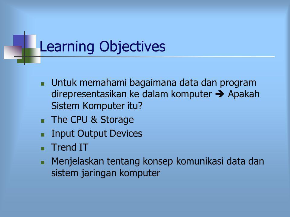 Learning Objectives Untuk memahami bagaimana data dan program direpresentasikan ke dalam komputer  Apakah Sistem Komputer itu.