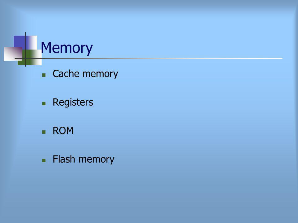 Memory Cache memory Registers ROM Flash memory