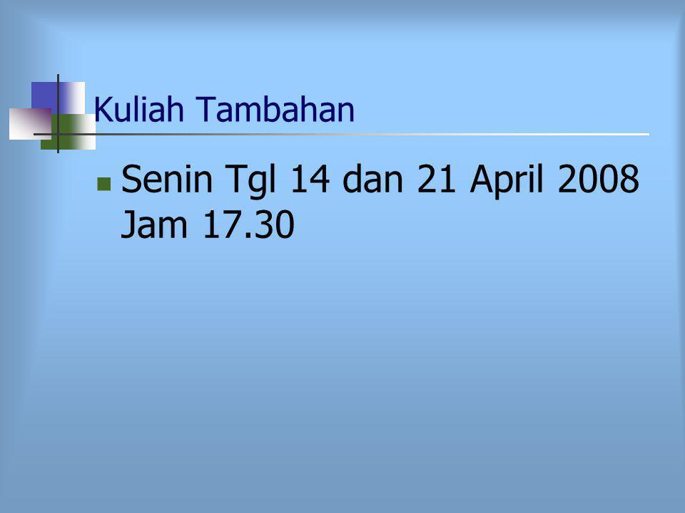 Kuliah Tambahan Senin Tgl 14 dan 21 April 2008 Jam 17.30