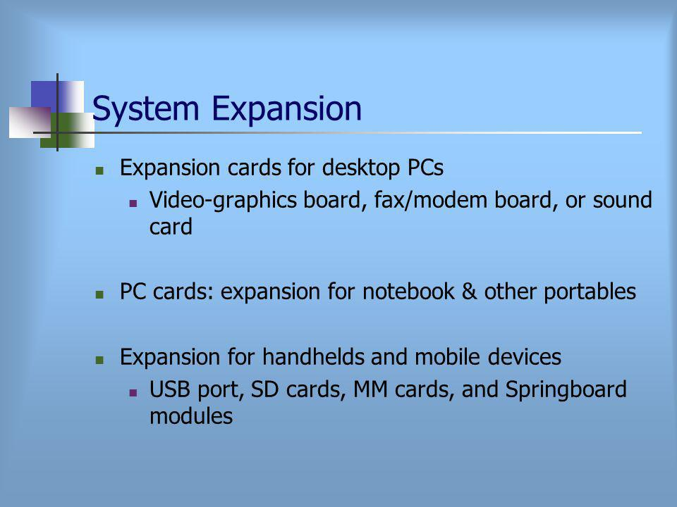 System Expansion Expansion cards for desktop PCs Video-graphics board, fax/modem board, or sound card PC cards: expansion for notebook & other portables Expansion for handhelds and mobile devices USB port, SD cards, MM cards, and Springboard modules