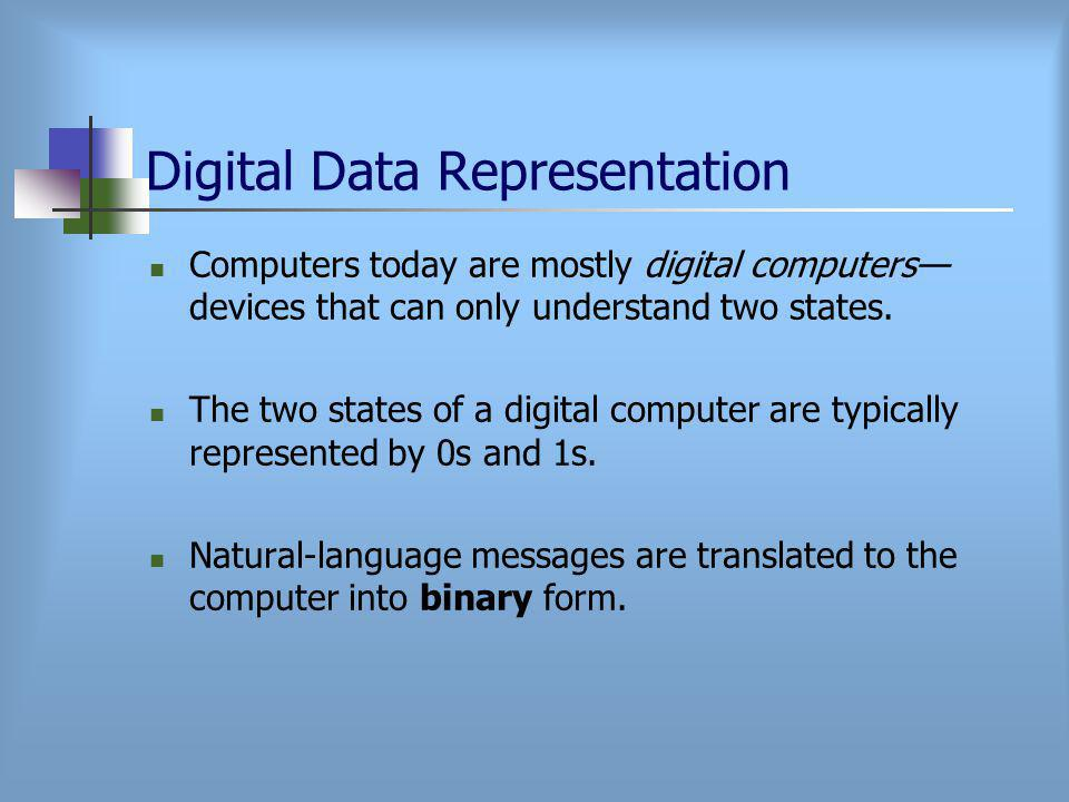 Digital Data Representation Computers today are mostly digital computers— devices that can only understand two states.