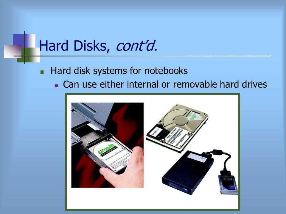 Hard Disks, cont'd.