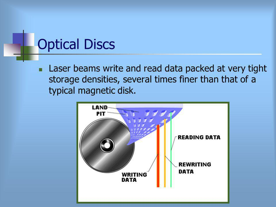 Optical Discs Laser beams write and read data packed at very tight storage densities, several times finer than that of a typical magnetic disk.