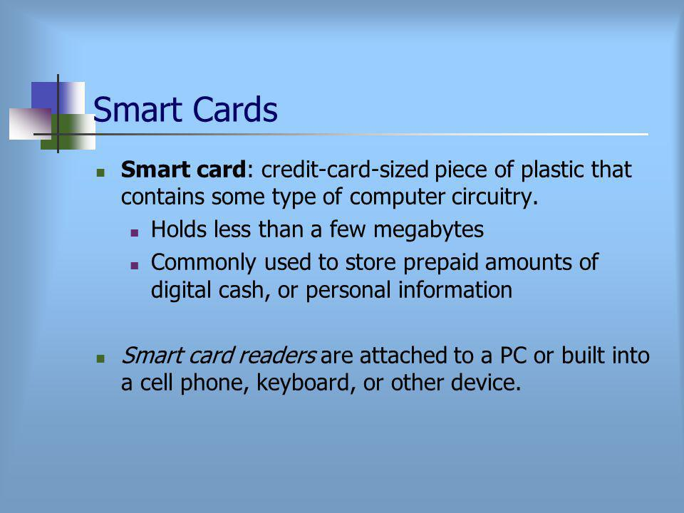 Smart Cards Smart card: credit-card-sized piece of plastic that contains some type of computer circuitry.