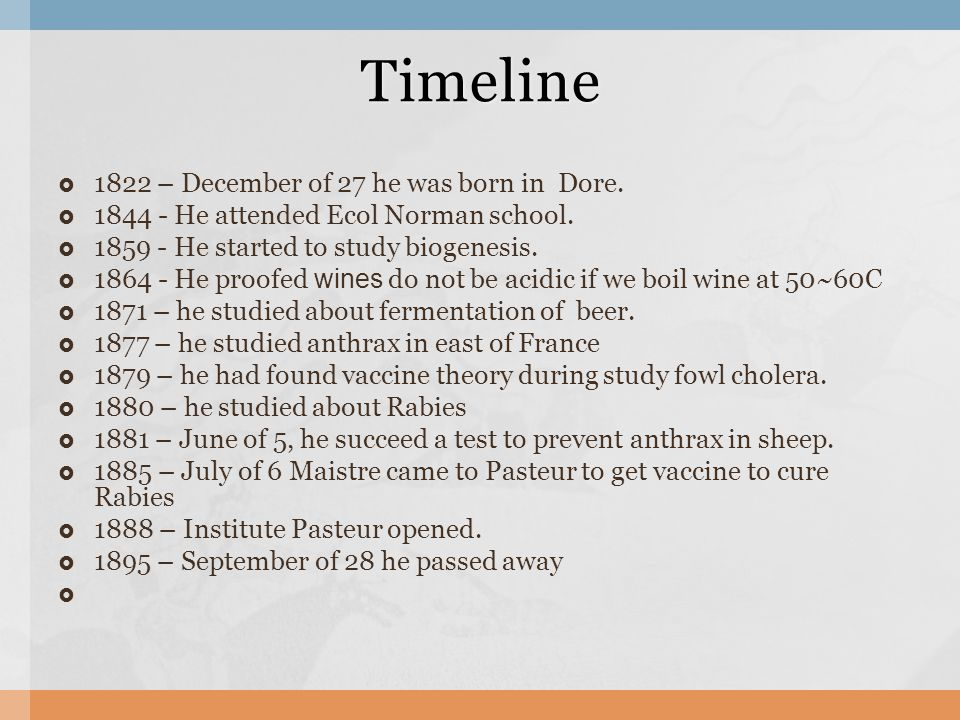  1822 – December of 27 he was born in Dore.  1844 - He attended Ecol Norman school.