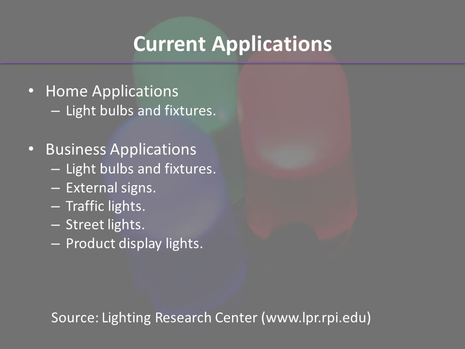 Current Applications Home Applications – Light bulbs and fixtures.