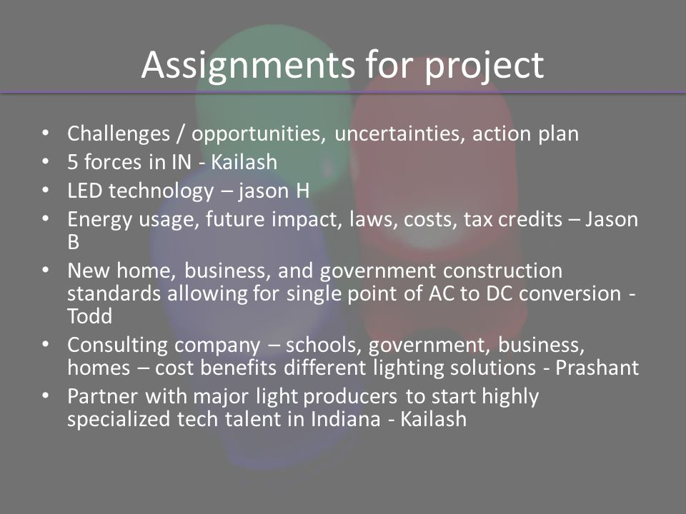 Assignments for project Challenges / opportunities, uncertainties, action plan 5 forces in IN - Kailash LED technology – jason H Energy usage, future impact, laws, costs, tax credits – Jason B New home, business, and government construction standards allowing for single point of AC to DC conversion - Todd Consulting company – schools, government, business, homes – cost benefits different lighting solutions - Prashant Partner with major light producers to start highly specialized tech talent in Indiana - Kailash